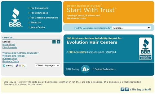 evolution hair centers reviews bbb